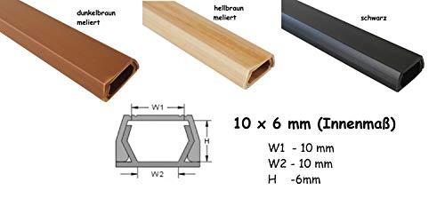 1m Kabelkanal 10x6mm (Innenmaß) selbstklebend (Verbinder verfügbar), Farbe:Hellbraun Meliert