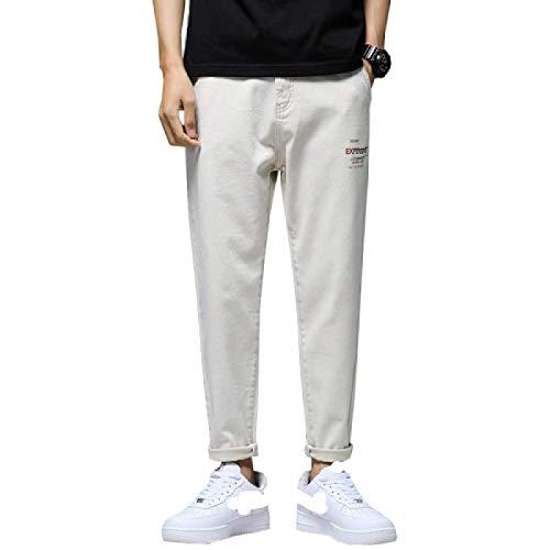 Pantalones Vaqueros para Hombre Four Seasons Pantalones Vaqueros de Moda Ajustados Casuales de Color sólido Simple Todo-fósforo Pantalones de Mezclilla de Tendencia elástica 29