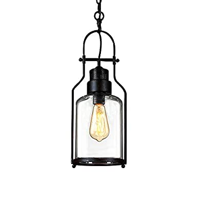 "SUSUO Lighting 6"" Wide Vintage Industrial Glass Pendant Ceiling Hanging Light with Cylinder Glass Shade,Black Finish"