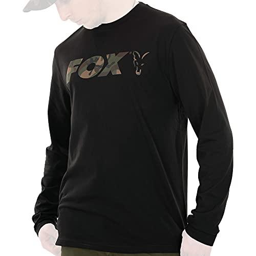Fox Black/Camo Long Sleeve T-Shirt - Angelshirt, Größe:L