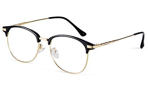 Effnny Bloqueo de luz azul Gafas anti fatiga filtro UV juegos de computadora gafas de lectura Para hombres mujeres 5054 (Oro negro)
