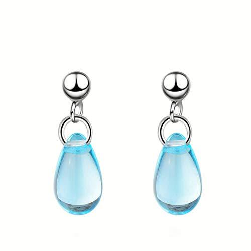 Garispace Blue Crystal Teardrop Earrings Elegant White Gold Vintage Drop Pierced Earrings Short Women Dangle Earrings Girls Ear Jewellery