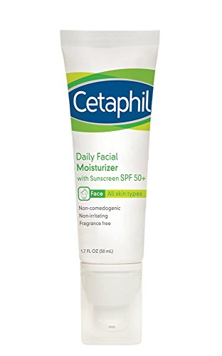 Cetaphil Daily Facial Moisturizer with Sunscreen, SPF 50+, Fragrance Free, 3.4 Fl Oz (Pack of 2)
