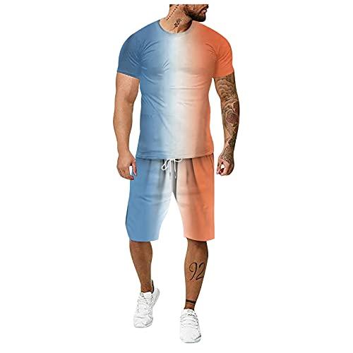 Rmoon 2 Pezzi Tuta Uomo Sportivo Estiva in Cotone Completa Maglietta A Maniche Corte + Pantaloncini Tuta da Ginnastica Uomo T-Shirt Estiva con Stampa 3D Tuta Intera per Uomo