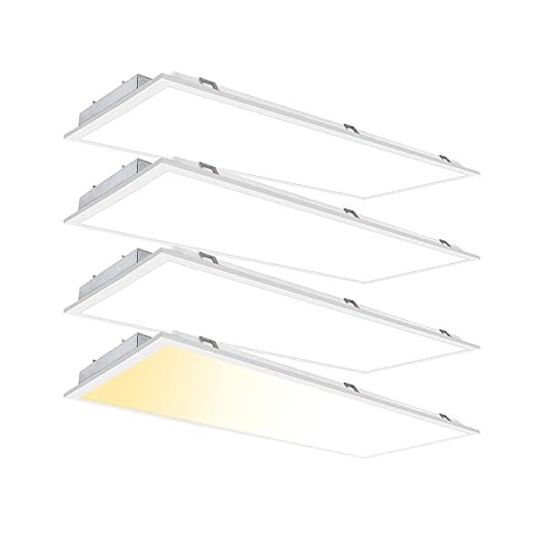 2×4 FT LED Flat Panel Light Drop Ceiling 50W 3000K-4000K-5000K Selectable – 0-10V Dimmable 24×48 Inch Back-lit Suspended…