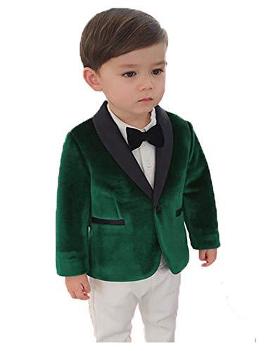 Toddler Velvet Suit Jacket for Boys 2t Dark Green Kids Velvet Tuxedo for Wedding