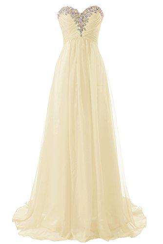 Abendkleider Ballkleider Lang Damen Brautjungfernkleid Festkleider Chiffon A Linie Champagner EUR36