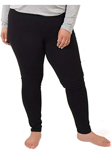 Stretch is Comfort Women's Cotton Plus Size Leggings Black 3XL
