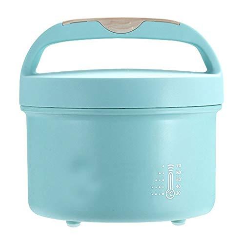 Electric oven Caja de Almacenamiento Redondo de Acero Inoxidable con Aislamiento portátil (Color : Azul)