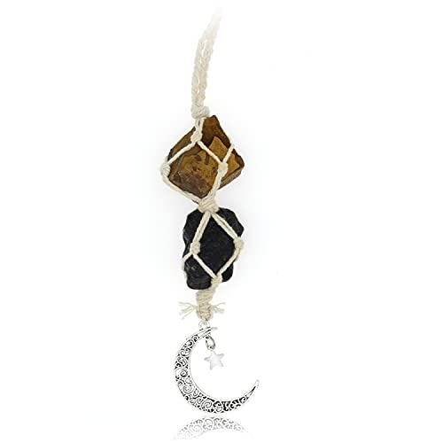 BOHO GARDEN Hanging Car Charm - Tiger Eye & Black Tourmaline - Dangling Moon, Healing Crystal Accessories, Rearview Mirror Decorations - Grounding, Confidence, Protection, Courage, Resilience, Energy