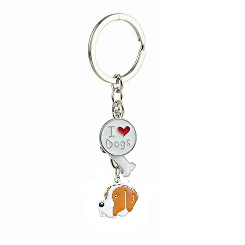 BBEART Dog Keychain, Puppy Keyring Love Pendant Pet ID Tags Metal Key-Ring Gifts for Women Men (9-Pointer)