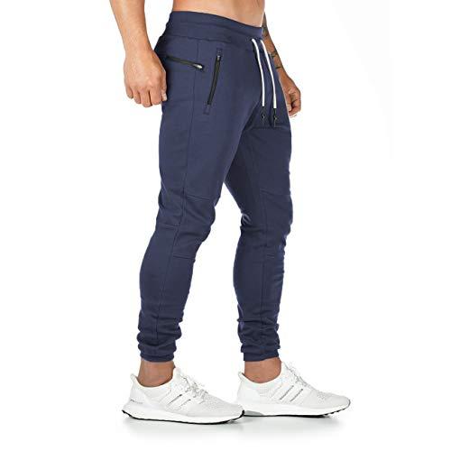 Yageshark Herren Jogginghose Sporthose Baumwolle Fitness Slim Fit Hose Freizeithose Joggers Streetwear(Marine,Large)