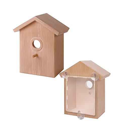 Fengshunte Kunststoff Vogelnest Hängender Vogelhäuschen Outdoor Sucker Sichtbarer Vogel Hausgarten Fenster Vogelhaus DIY Vogelhaus
