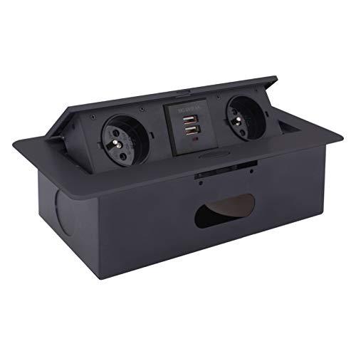 Versenkbare Einbausteckdose 2x Schuko + 2x USB 5V - Schwarz - Aluminium Spritzguss - mit Softöffnung - anschlussfertig mit 3m Schukokabel