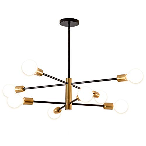 Nordischer Schwarz-Gold-Kronleuchter, SOZOMO Mid Century Pendelleuchte LED-Pendelleuchte Gold Kronleuchter Deckenleuchte für Wohnzimmer Schlafzimmer Küche (8-Lichter)