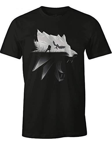 Witcher Herren T-Shirt Wolf Silhouette Geralt von Riva Wild Hunt Baumwolle schwarz, Schwarz, M