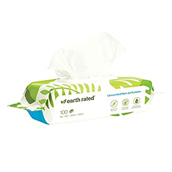 Earth Rated Dog Wipes 100 Plant-Based and Compostable Wipes for Dogs & Cats USDA-Certified 99 Percent Biobased Hypoallergenic Unscented 8x8 Deodorizing Grooming Pet Wipes for Paws Body and Butt