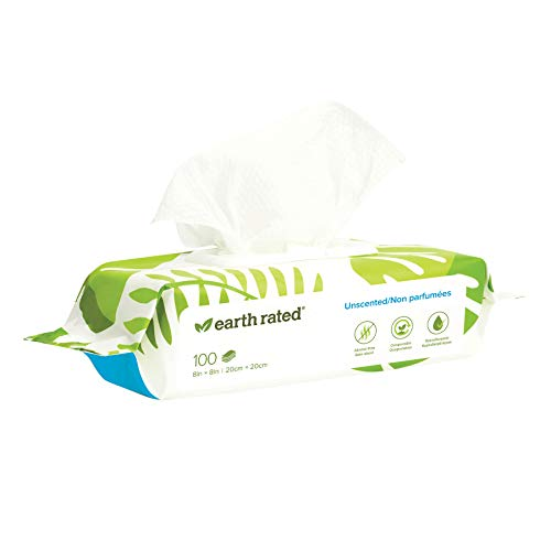 Earth Rated Dog Wipes, 100 Plant-Based and Compostable Wipes for Dogs & Cats, USDA-Certified 99 Percent Biobased, Hypoallergenic, Unscented 8x8 Deodorizing Grooming Pet Wipes for Paws, Body and Butt