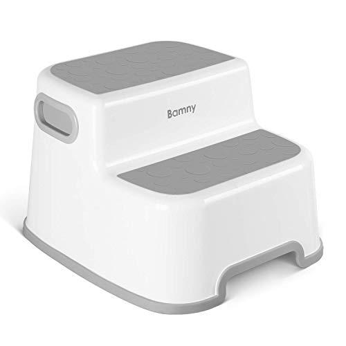 BAMNY Dubbelhöjd stegpall för barn   Småbarnspall för potträning och användning i badrummet eller köket   mångsidig tvåstegsdesign för växande barn (grå)