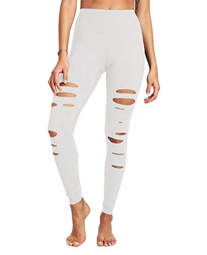 Foshow Womens Cutout Yoga Pants High Waisted Ripped Skinny Leggings Tummy Control Workout Stretchy Slim Pant White