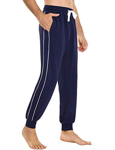 Sykooria Pantalon de Jogging Homme en Coton avec Poches et Cordon de Serrage Casuel Long Pants pour Sport Fitness Sortie Voyager Courant,XL,Bleu