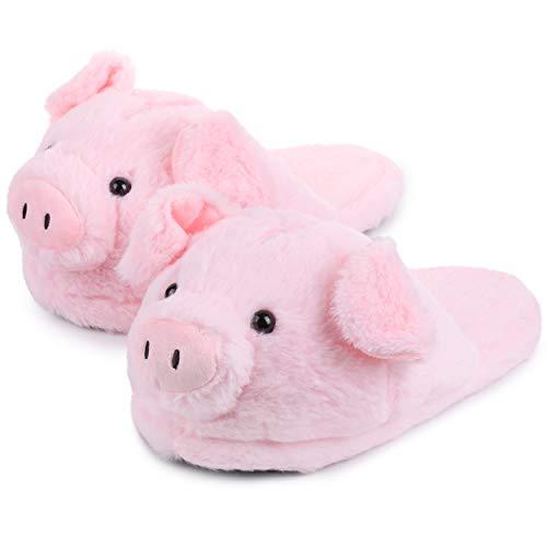 Katara Schwein Hausschuhe Kuschelige Plüsch-Latschen für Damen Herren Erwachsene Kinder als Geschenk, offene Pantoffeln 28cm EU Einheitsgröße 36-44, Pink