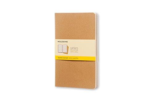 Moleskine Cahier Journal, Set 3 Quaderni con Pagina a Quadretti, Copertina in Cartoncino e Cucitura a Vista, Colore Marrone Avana, Dimensione Large 13 x 21 cm, 80 Pagine