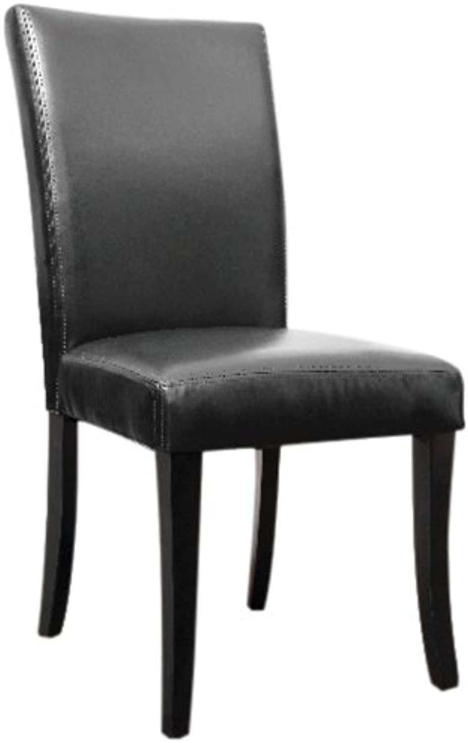 The FHE Group Bonded Leather Parsons Chair, 18 by 38.5 by 17.5-Inch, Black