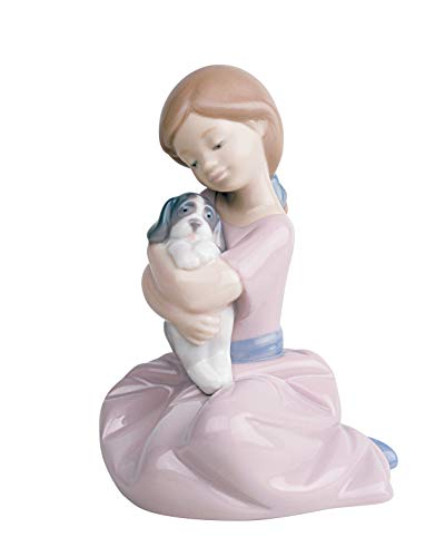 Nao by Lladro Collectible Porcelain Figurine: MY PUPPY LOVE - 5 1/2' tall - girl with puppy dog