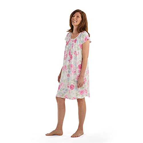 Miss Elaine Nightgown - Women's Short Chic Gown, Short Sleeves, Lace Detailing (Large, Pink/Blue Floral)