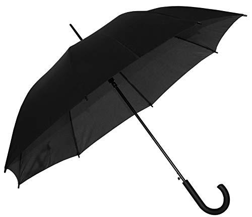 Baciami Regenschirm Herren & Damen - Großer Langschirm mit AUF-Automatik, Wind- und Sturmfest, ⌀ 90cm, Schwarz