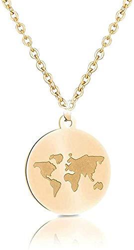 niuziyanfa Co.,ltd Edelstahl Halsketten Frauen Weltkarte Bee Mountain Halskette Anhänger für Frauen Mädchen Traveller Geschenke Femme Geschenk