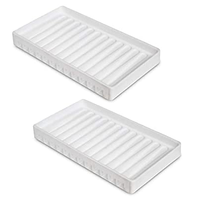 NIUHOM Sink Tray & Organizer - Self-Draining Silicone Soap and Sponge Holder - Kitchen, Bathroom Sink Organizer, Tray for Soap, Sponge, Scrubber - 2 Pack (White)