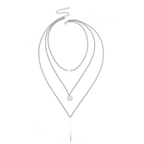 Daesar Collares Mujer Multicapa Moneda Redonda Barra Larga Cadena Multicapas Collar Chapado en Plata Collar de Mujer Plata