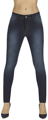 Firstclass Trendstore Shape-Leggings im Jeans-Look Gr. S-XXL, formend modellierend schlankmachend Leggins Formhose (Timea dunkelblau Gr. S)