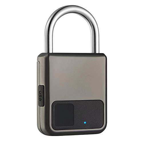 Banese Hangslot met vingerafdrukken, biometrisch, intelligent hangslot, waterdicht, oplaadbaar, USB, voor bureau, nachtkastje, map