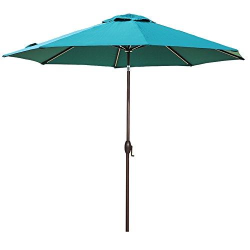Abba Patio 11ft Patio Umbrella Outdoor Umbrella Patio Market Table Umbrella with Push Button Tilt and Crank for Garden, Lawn, Deck, Backyard& Pool, Dark Green