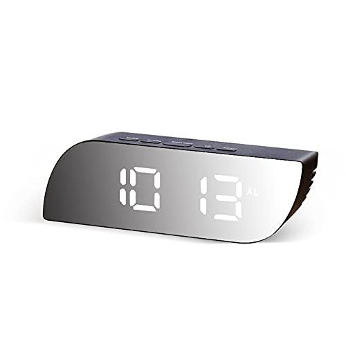 Aiglen Digital Mirror Reloj LED Reloj Despertador Luces De Noche Uso De La Batería Temperatura Snooze Función Relojes De Escritorio Relojes De Mesa USB Decoración del Hogar (Color : C)