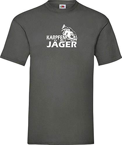 Shirtinstyle T-Shirt Karpfen Jäger fischen Angeln Hobby Karpfenangler Kultstyle, Zink, L