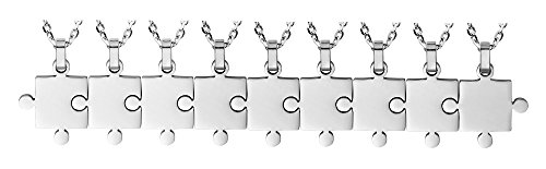 9 Piece Puzzle Necklace Friendship - Women Men Stainless Steel Pendant Silver Tone Jewelry