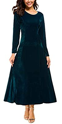 Urban CoCo Women's Elegant Long Sleeve Ruched Velvet Stretchy Long Dress (L, Lyons Blue)