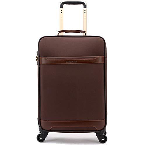 Box Oxford maleta de tela universal, con ruedas y maleta de viaje de negocios, caja de 24 pulgadas, marrón (Marrón) - ngsen