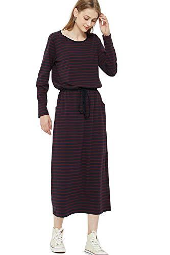 綿100% 透けない 体型カバー ロング ワンピース (10カラー×3サイズ) 長袖 マキシ 着痩せ ルームウェア 部屋着 レディース 着心地の良い カットソー 春 Le ciel clair (ルシェルクレール) (XL, ネイビー*ボルドー(ボーダー)