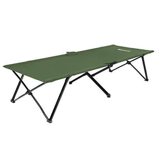 SONGMICS Unisex-Adult Campingbett, Feldbett, vom TÜV Rheinland geprüft, max. statische Belastbarkeit 260 kg, 206 x 45 x 75 cm GCB25J, Grün, 205 x 75 x 46 cm