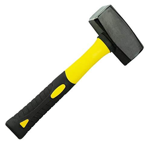 HRB Fäustel 1500g mit Fiberglasstiel, Hochwertiger 1,5kg Hammer mit Stahlkopf - Rutschfester 2 Komponenten Stiel aus Fiberglas Geschliffene Bahnen Abbruchhammer Vorschlaghammer Stemmhammer
