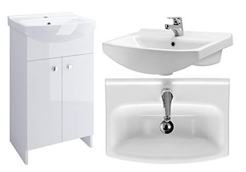 VBChome Badmöbel Weiß 50 cm Waschbecken mit Unterschrank Waschtisch Waschbeckenunterschrank Unterschrank Badezimmerschrank 2 Türen Glanz Waschplatz Stand Standmöbel
