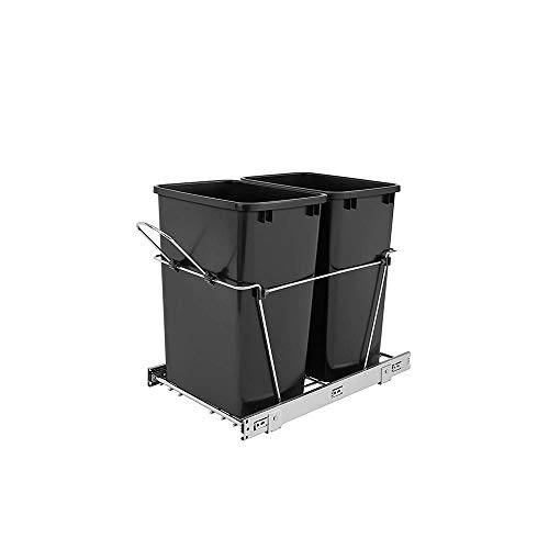 Rev-A-Shelf Double 35 Quart Sliding Pull Out Kitchen Cabinet Waste Bin Container