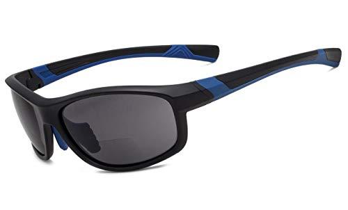 Eyekepper Fashion Sports Bifocal Sunglasses TR90 Unbreakable Outdoor Readers Baseball Running Fishing Driving Golf Softball Hiking Matte Black-Blue Frame Grey Lens +2.5