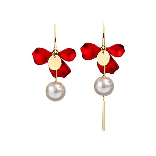 JIANGCJ Pendientes de perlas asimétricas con diseño de flores, pendientes colgantes a la moda, elegantes para adolescentes y mujeres