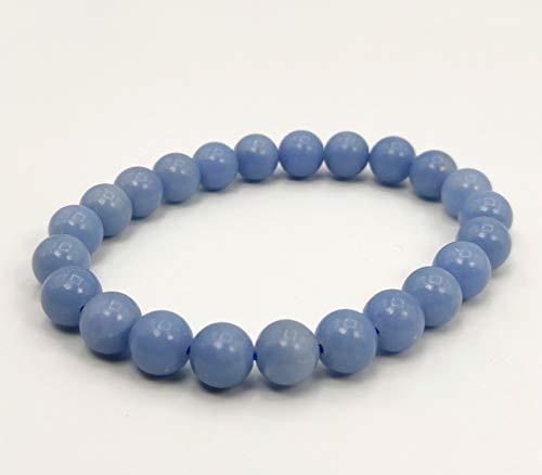 Plusvalue Angelite Bracelet Reiki Healing Crystal Products Stylish Men Women Boys Girls (Beads Size 8 mm)